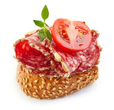 Toasted bread with salami and tomato Royalty Free Stock Image