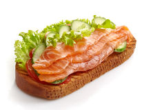Toasted bread with salmon Stock Photography