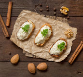 Toasted bread with a salted codfish mousse Royalty Free Stock Photo