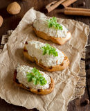 Toasted bread with a salted codfish mousse Royalty Free Stock Images