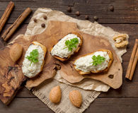 Toasted bread with a salted codfish mousse Stock Image