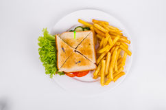 Toasted bread. Sandwich with ham and French fries. Fast food Royalty Free Stock Photography