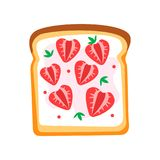 Toasted bread slice with butter and ripe strawberry. Sweet sandwich. Tasty snack for breakfast. Flatvector design. Toasted bread slice with butter and ripe Royalty Free Stock Photography