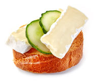 Toasted bread slice with cucumber and cheese Royalty Free Stock Photography