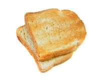 Toasted bread. Slices for breakfast isolated on white studio background royalty free stock photos