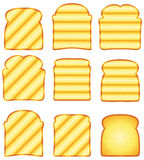toasted bread slices, vector stock illustration