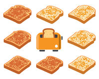 Toasted bread slices and toaster. vector vector illustration