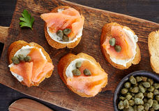 Toasted bread with smoked salmon Royalty Free Stock Photo