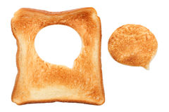 Toasted bread, speech bubble. Isolated on white background Royalty Free Stock Photography