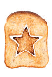 Toasted bread with star shape. Slice of bread toast cut hole in shape of star isolated on white background Royalty Free Stock Photos