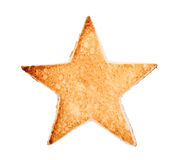 Toasted bread with star shape. Slice of bread toast cut shape of star, isolated on white background Stock Photography