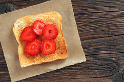 Toasted bread with strawberries Royalty Free Stock Photography