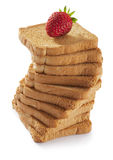 Toasted bread with strawberry Royalty Free Stock Images