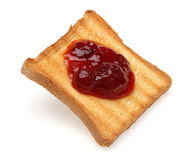 Toasted bread and Strawberry jam Stock Photography
