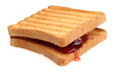 Toasted bread and Strawberry jam Stock Photos