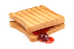 Toasted bread and Strawberry jam Stock Images