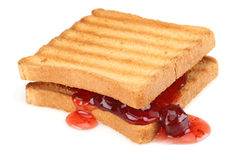 Toasted bread and Strawberry jam Stock Photo