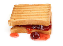 Toasted bread and Strawberry jam Royalty Free Stock Images