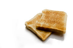 Toasted bread. Toast on white with natural reflecton Stock Images