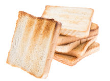 Toasted bread on white Stock Photo