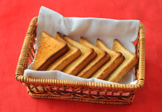 Toasted bread in the wicker basket Royalty Free Stock Images