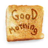 Toasted bread wishes good morning Stock Photos
