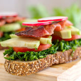 Toasted Breakfast Sandwich. Homemade delicious toasted sandwich for breakfast Royalty Free Stock Image