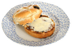 Toasted Buttered Hot Cross Bun Royalty Free Stock Image