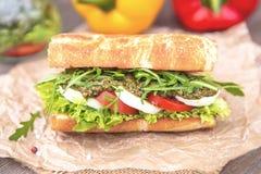 Toasted Caprese Sandwich. With tomato mozzarella arugula and pesto Royalty Free Stock Image