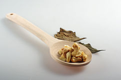 Toasted cashews in a wooden spoon. Royalty Free Stock Images