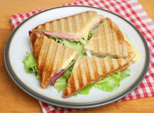 Toasted Cheese & Ham Sandwich or Panini Royalty Free Stock Photo