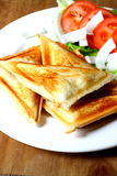 Toasted cheese sandwich. Photograph of toasted cheese sandwiches with salad royalty free stock image