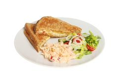Toasted cheese sandwich. Salad and coleslaw on a plate isolated against white Stock Image