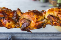 Toasted chicken in charcoal grills Royalty Free Stock Photography