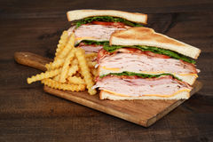 Toasted chicken club sandwich with fries Stock Images