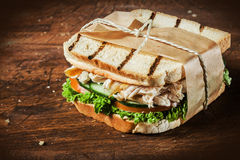Toasted chicken and salad sandwich Stock Photography