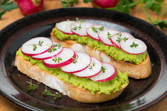 Toasted ciabatta with pate of avocado and fresh radish on plate. Toasted ciabatta with pate of avocado and fresh radish on a plate, close-up Stock Photo