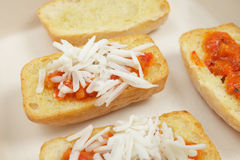 Toasted ciabatta with topping Royalty Free Stock Image