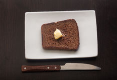 Toasted custard rye bread on the white plate Royalty Free Stock Photo