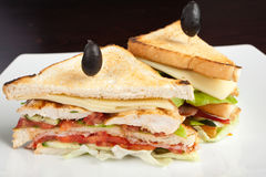 Toasted deli sandwich. Details of a fresh, tasty, deli sandwich garnished with toothpicks and black olives Stock Photo