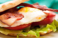 toasted egg and bacon naan sandwich Stock Photos