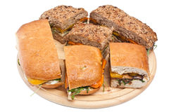 Toasted Eggplant and Pepper Sandwiches Stock Photography