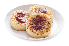 Toasted english crumpets Royalty Free Stock Photography