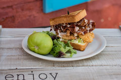 Toasted fried green tomato bacon chicken sandwich Royalty Free Stock Images