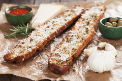 Toasted garlic bread with parmesan cheese Stock Image