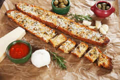 Toasted garlic bread with parmesan cheese Royalty Free Stock Photo