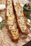 Toasted garlic bread with parmesan cheese Stock Images
