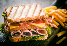 Toasted or grilled ham and cheese sandwich Stock Photography