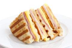 Toasted ham and cheese panini. stock image