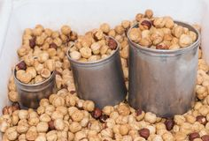 Toasted hazelnuts for sale Stock Photos